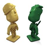 Two 3D enemy army men facing each other. Two 3D enemy army men ( green and yellow) facing each other vector illustration