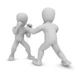 Two 3d figures boxing. Three dimensional illustration of two characters of people fighting, isolated on white background Royalty Free Stock Photography