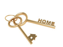 Two 3d gold keys with symbol home Stock Photo