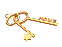 Two 3d gold keys with symbol home Royalty Free Stock Image