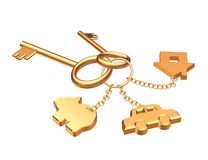 Two 3d gold keys with three labels Stock Photo