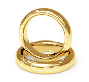 Two 3d gold wedding ring Royalty Free Stock Photo