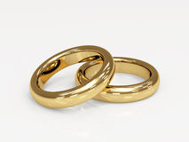 Two 3d gold wedding ring vector illustration