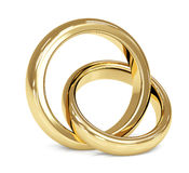 Two 3d gold wedding ring Royalty Free Stock Photography