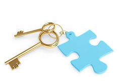 Two 3d golden keys with label. Two 3d gold keys with label. Objects over white Stock Image