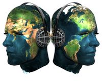 Two 3D head with earth texture with headphones Royalty Free Stock Photo