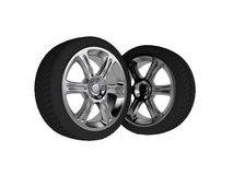 Two 3d isolated chromed wheels Royalty Free Stock Photography