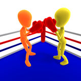 Two 3d male icon toon characters boxing against Royalty Free Stock Image