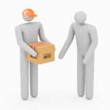 Two 3D Man & Boxes Royalty Free Stock Images
