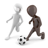 Two 3d man playing football. 3d image. Stock Photos