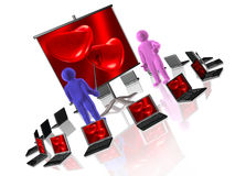 Two 3D mans and hearts Royalty Free Stock Photography
