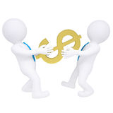 Two 3d people share money. Isolated render on a white background Stock Photography