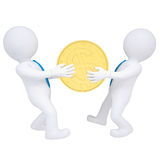 Two 3d people share money. Isolated render on a white background Royalty Free Stock Images
