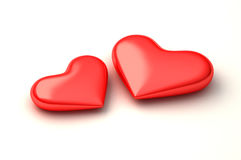 Two 3d perfect hearts royalty free illustration