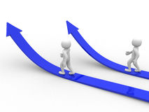 Two 3d person running the arrows. Success. 3d render. Illustration Stock Image