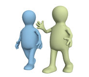 Two 3d the person, talking on walk Royalty Free Stock Photos