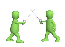 Two 3d persons - puppets, fencing swords. Objects over white Stock Photography