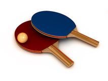 Two 3d ping-pong rackets. With ball isolated on white background Royalty Free Stock Photo