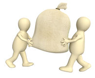 Two 3d puppets carrying big bag Royalty Free Stock Photography