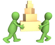 Two 3d puppets carrying five boxes Stock Photography