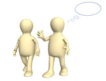 Two 3d puppets, talking on walk Royalty Free Stock Image