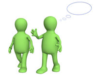 Two 3d puppets, talking on walk Stock Photography