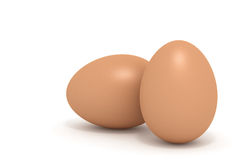 Two 3d realistic chicken eggs on white Royalty Free Stock Photography