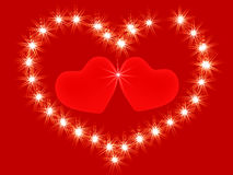 Two 3d red hearts royalty free illustration