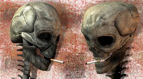 Two 3D skulls with cigarette Stock Photo