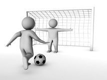 Two 3D soccer players and the gate Stock Photos