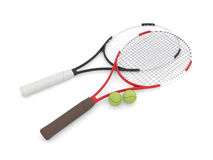 Two 3d tennis rackets Royalty Free Stock Photo
