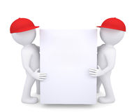 Two 3d white man in a red hat holding a white box. Isolated render on a white background Royalty Free Stock Images