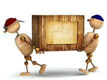 Two 3d wood man carring big wooden box Royalty Free Stock Photography