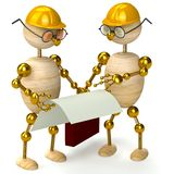 Two 3d wood man engineers. Isolated on white Royalty Free Stock Photos