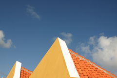 The two. Traditional rooftops in Caribbean stock photography