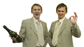 Two. Joyful images of one man Stock Image