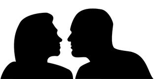Two. Illustration raster, a profile of a bust of the man and the woman on a white background Royalty Free Stock Photos