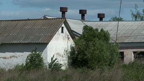 Two abandoned buildings. Abandoned and dirty buildings at summer day stock video footage