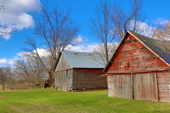 Two Abandoned Farm Buildings Stock Photo