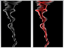 Two abstract background with smoke red and white. On black for advertising something Royalty Free Stock Images