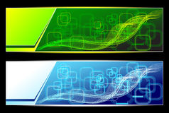 Two Abstract banners backgrounds in green blue col Royalty Free Stock Image