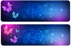 Two abstract banners with butterflies Stock Photography