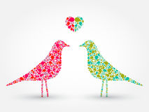 Two abstract birds with heart. Tear drop pattern, vector Royalty Free Stock Images