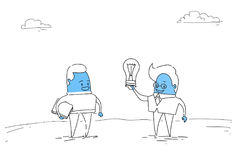 Two Abstract Business Men New Creative Idea Concept Hold Light Bulb Royalty Free Stock Photo