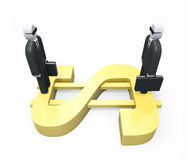 Two abstract businessmen standing on a huge golden dollar Stock Photos