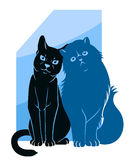 Two abstract cats. Vector illustration of stylized abstract cats silhouettes Stock Photography