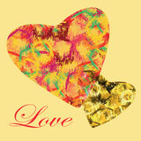 Two abstract colorful hearts Royalty Free Stock Photos