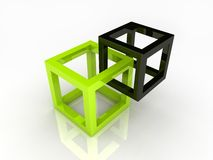 Two abstract cubes Royalty Free Stock Image