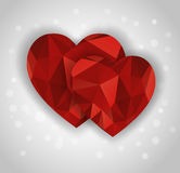 Two abstract diamond hearts shape greeting card Royalty Free Stock Image