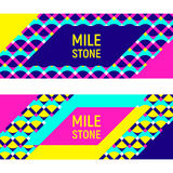 Two abstract geometric backgrounds, memphis style. Two abstract geometric backgrounds, different geometric shapes. Sample text - Milestone. Memphis style. Bright Stock Photo